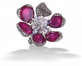 Ruby and diamond orchid ring