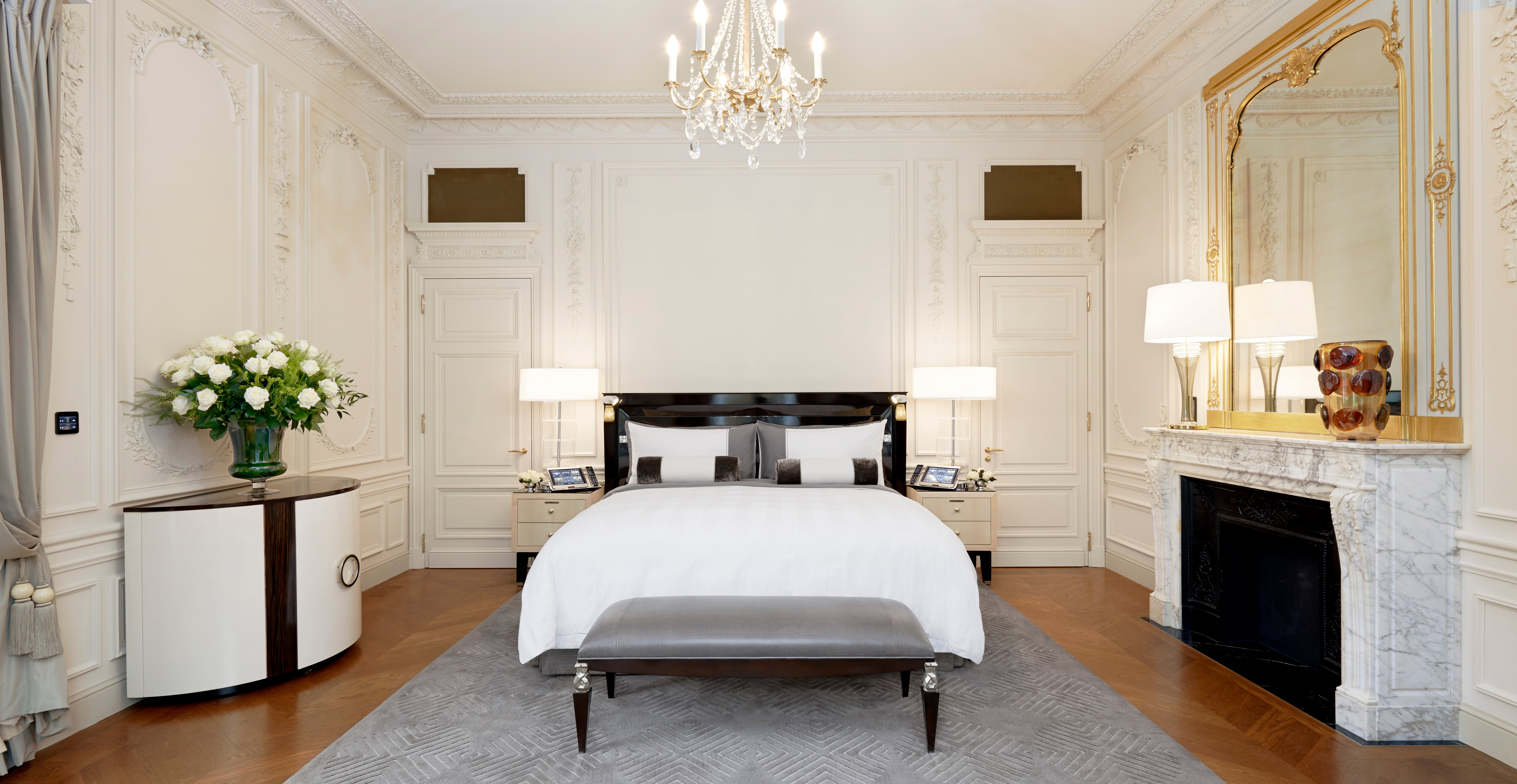 Parisian Bedroom. With its original mouldings  woodwork and gold leaf this 217 sq m 2 336 ft suite distinguishes itself by decidedly Parisian elegance The Theme Suites at Peninsula Paris Hotel Showcase their