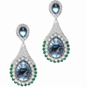 Mystery of the Sea - One-of-a-kind Diamond Emerald London Blue Topaz Earrings by Abellán New York
